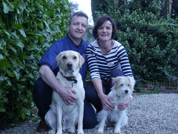 David and Marie with their dogs